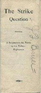 The Strike Question. A Statement to the Public by the Railroad Enginemen.