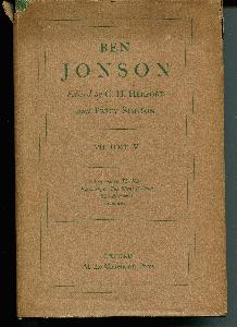 The Oxford Jonson. Edited by C. H. Herford and Percy Simpson. Volume V.